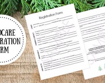 Editable | Childcare Registration Form - Babysitter Form - Daycare Form - Childcare Planner