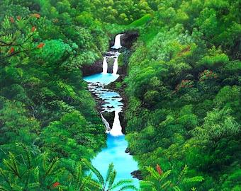 Umauma Falls Fine art Giclee print by VICKIE PETERS
