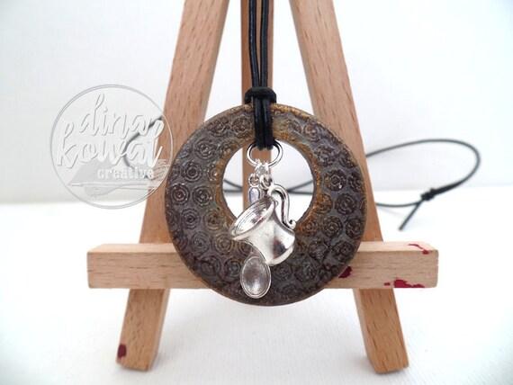 Tea Spoon wood pendant