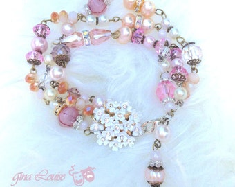 Shabby Pink Chic Bracelet- Made from vintage pink, white & blush pearls and beads | Champagne freshwater pearls