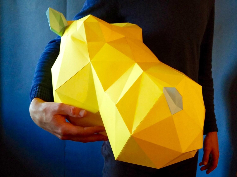 Medium Hippo DIY KIT/ Room Decor/ Paper Craft/ Wall Decor/