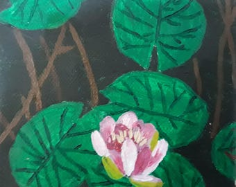 Lotus and leaf on canvas