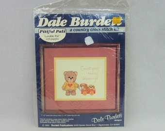 """1985 Bear and Puppies in Wagon Kit - Pitiful Pals Country Cross Stitch Kit - Dale Burdett Kit - Vintage 1980s - 5"""" x 7"""""""