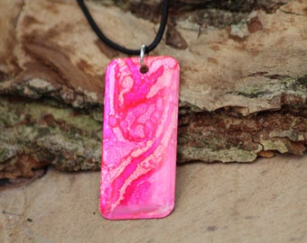 Pink Alcohol Ink Hand Painted Necklace (2)