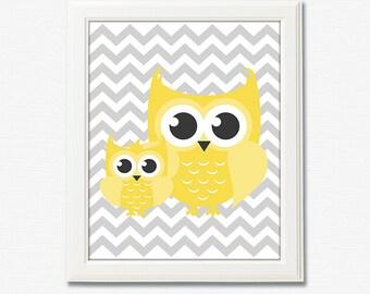 Impression d'art de pépinière de chouette jaune et gris - 8 x 10 sans cadre-neutre sexe pépinière art, impression d'art unisexe, chevron, jaune, gris, hibou