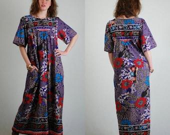 India Caftan / 70s Maxi Dress / India Dress / Sheer Caftan / Vintage Caftan / Hippie Dress / Festival Caftan / India Cotton Dress / One Size