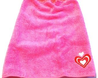 Valentine Heart Pink Wash Cloth With Raspberry Crocheted Top
