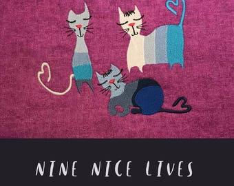 NEUN schöne Leben - kleine niedliche Katzen - 9 maschinenstickmotive mit Katzen - mischbar - vielseitig