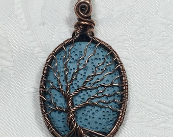 Lava Stone Tree of Life Pendant , Sky Blue Coloured Copper, Wrapped/Woven