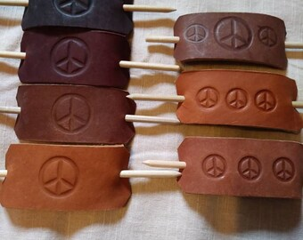 Leather Hair Stick Barrett, Peace Sign Stamp Imprint Design, Handmade Hippie Hair Accessories, Gypsy Boho Hair Accessory, Dread Accessories