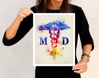 "Watercolor Medical Doctor MD- Caduceus ,11"" x 14"" print, Medical Graduate print, Medical Doctor print, Medical Art Decor, Doctor of Medicine"