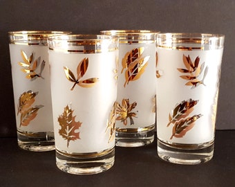 Mid Century Modern Libbey Glass Frosted Tall 12 OZ Glasses Set of 4 Glasses