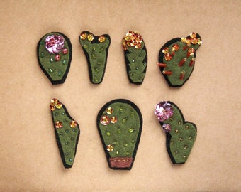 Cactus patch sew on, botanical embroidery, hand embroidered with sequins flowers