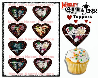 Harley Quinn and The Joker Cupcake Toppers, Printable, Valentine Cupcake Toppers, Birthday Cupcake Toppers, DIGITAL FILE, Instant Download