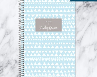 NOTEBOOK personalized journal | lined notebook | personalized gift | stocking stuffer | spiral bound notebook | blue tribal pattern