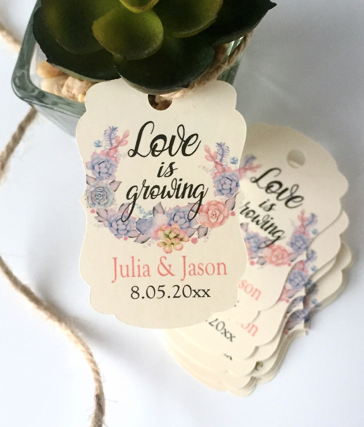 Wedding favor tags, favor tags, succulents tags, love is growing ...