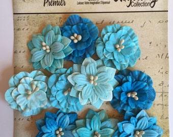 Paper flower, Petaloo Premier Darjeeling Collection Tea Stained Teal Paper Flower Dahlia, flower scrapbook embellishment