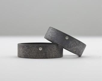 Oxidized Rough Finish Sterling Silver & White Diamond Matching Rings - Blackened Silver Wedding Band Set - Partnership Rings - Artisan Rings