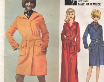 Butterick 4204 junge Designer GAYLE KIRKPATRICK 1960er Jahre Mantelkleid Größe 12 Mantelkleid
