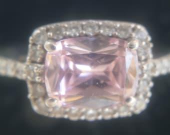 PADPARADECHA PINK quartz and white topaz sterling silver ring LARGE Freepost!