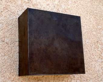 """Square- Patinaed Steel 9"""" x 9"""" x 4"""" Light Sconce"""