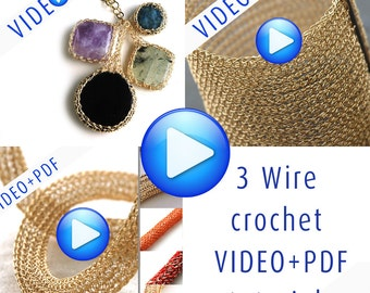 Combo wire Crochet Pattern , DIY Jewelry , video PDF tutorial , instant download , YoolaCuff, Yoolatube, YoolaBezel