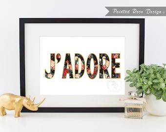 Art Print - J'adore French Love Digital Printable Home Décor Wall Frame Art Gift 8 x 10
