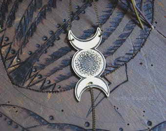 "Small pendant""Triple Moon""brass etched and patinated.  Hand made piece. Witch. Pagan. Moon. Magic. Celtic."