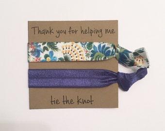 Bridesmaid hair tie favors//hair tie card, hair tie favor, party favor, bridesmaid gift, bachelorette gift, elastic hair ties