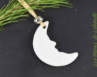ceramic moon Christmas Ornament, moon Ornament, Holiday Decor, angel Christmas tree ornament, XMAS Family Tree Decoration