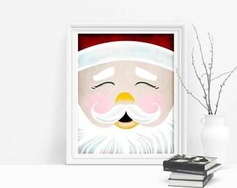 Printable Santa Claus Decor, Christmas Decor Winter Wall Art, Holiday Wall Art
