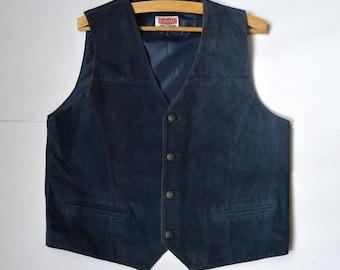 Men's Leather Vest Suede Vest Dark Blue Leather Waistcoat Suede Leather Original Rocky Vintage Vest Country Western Vest Large Size