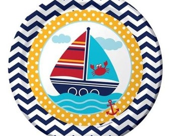 Ahoy Matey Lunch Plates-Package of 8. NEW  9in Round