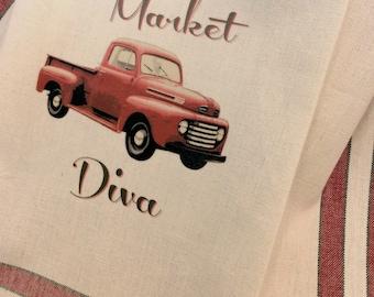 Old red truck Vintage Market Diva towel Farmhouse kitchen Vintage style cotton Shabby Prairie Farmhouse ECS RDT FVGteam