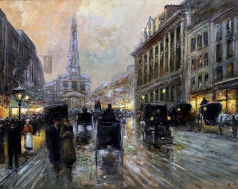 Oxford Street, London Painting by Rudolf Plessner Art Print Reproduction