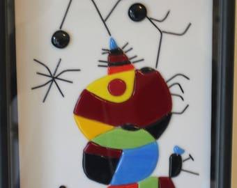 CLEARANCE SALE Fused Glass, Joan Miro, Abstract, Woman, Bird, Star