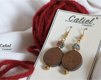 Wood and color earrings
