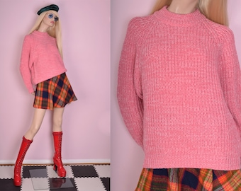 80s Pink Chunky Knit Sweater/ Large/ 1980s