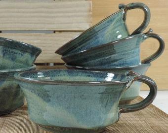 Soup mug with handle, Soup bowl, Blue bowl