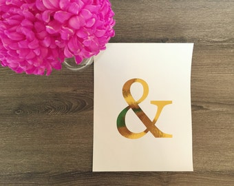 Ampersand Gold Foil Print | &, Gallery Wall Print, Gold Ampersand, Rose Gold Ampersand, apartment decor, great gifts for wife, gallery wall