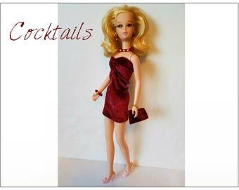FRANCIE Doll Clothes - Dress, Purse and Jewelry - fits Twiggy, Casey - Custom Fashion - by dolls4emma