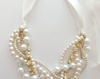 Ribbon rhinestone gold ivory white champagne crystal braided twisted chunky statement pearl necklace bridesmaid bridal