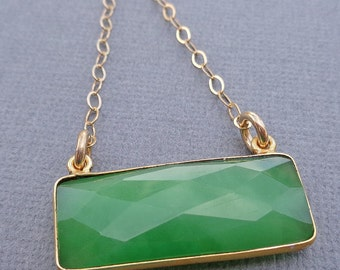 Green Chrysoprase Necklace / Natural Stone Necklace / Green Gold Bar / Chrysoprase Bezel// BE4