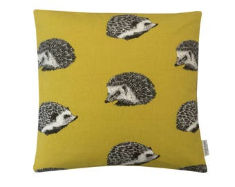 Cushion cover pillow case Edgehog mustard saffron yellow  black ivory Nature Collection interior fabric Country Home, Kitchen, sofa, Lounge