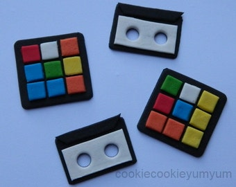 12 edible 80'S RUBIK CUBE & Cassette cake cookie cupcake topper decoration party wedding anniversary birthday engagement 70's 16th 18th 21st