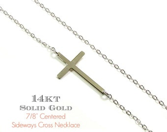 14KT SOLID GOLD Small Sideways Cross Necklace in 14Kt Solid Yellow Gold, White Gold or Rose Gold- As seen on Kelly Ripa