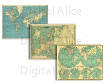 ANTIQUE WORLD MAPS - 3 Maps - Instant Digital Download  - 8.5 x 11 in - DiY Trade and Commerce - Interesting