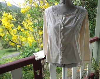 embroidered blouse, boho top, large