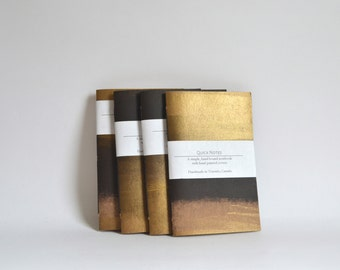 Gold and Black Painted Soft Cover Notebook, Hand Bound Journal, Quick Notes Journal