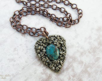 """Bohemian Pyrite and Chrysocolla Crushed Gemstone Pendant Necklace .:. OOAK -- Aged copper metals and long 24"""" chain,  boho style, chic"""
